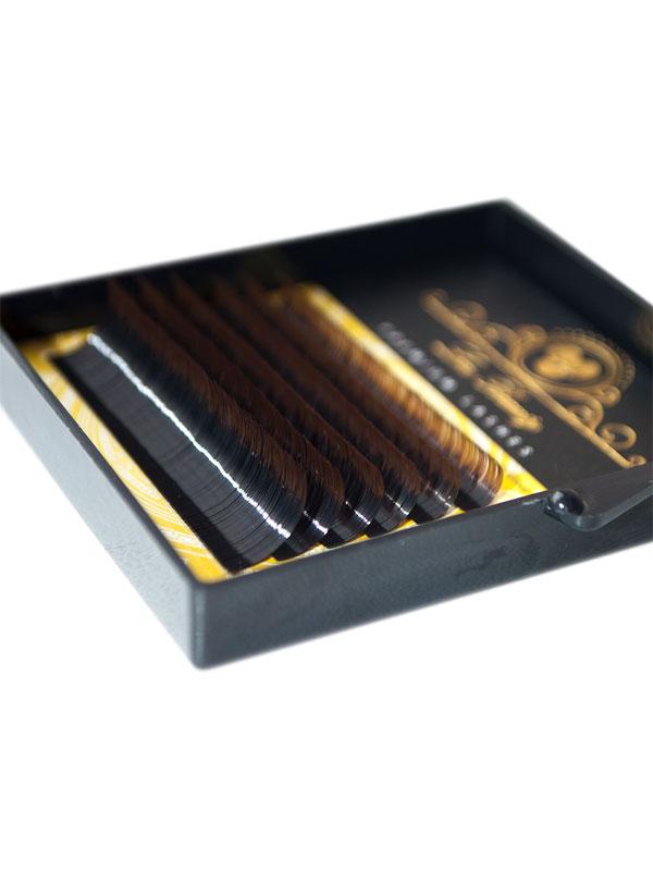 Два тона ресницы MIX Lux Beauty черный\коричневый (6 лент)